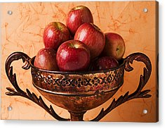 Brass Bowl With Fuji Apples Acrylic Print by Garry Gay