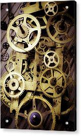 Brass Clock Gears Acrylic Print by Garry Gay
