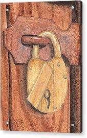 Brass Lock On Wooden Door Acrylic Print by Ken Powers