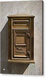 Brass Mail Box Nyc Acrylic Print