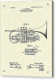 Brass Musical Instrument 1906 Patent Acrylic Print