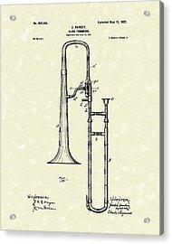 Brass Trombone Musical Instrument 1902 Patent Acrylic Print