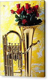 Brass Tuba With Red Roses Acrylic Print by Garry Gay