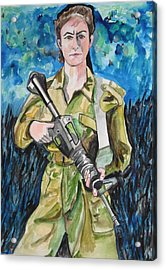 Acrylic Print featuring the painting Bravado, An Israeli Woman Soldier by Esther Newman-Cohen