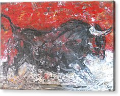 Acrylic Print featuring the painting Brave Black Bull by Koro Arandia