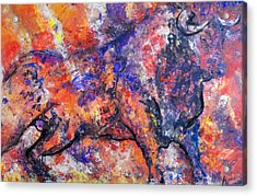 Acrylic Print featuring the painting Brave Bull by Koro Arandia