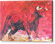 Acrylic Print featuring the painting Brave Red Bull by Koro Arandia