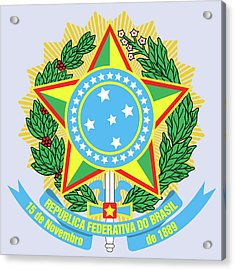 Brazil Coat Of Arms Acrylic Print by Movie Poster Prints