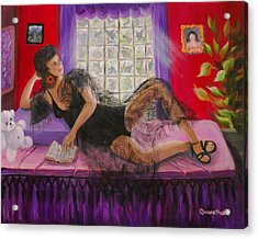 Acrylic Print featuring the painting Break Between Clients by Quwatha Valentine