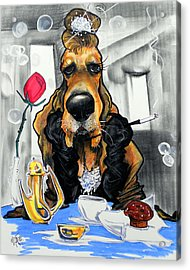 Breakfast At Tiffany's Basset Hound Caricature Art Print Acrylic Print