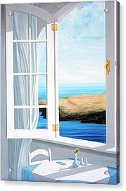 Breakfast In Santorini - Prints Made From Original Oil Painting Acrylic Print