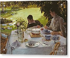 Breakfast In The Garden, 1883 Acrylic Print by Giuseppe Nittis