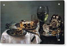 Breakfast Table With Blackberry Pie Acrylic Print by Willem Claeszoon Heda