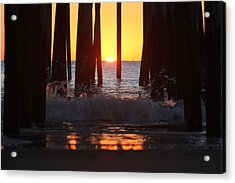 Breaking Dawn At The Pier Acrylic Print