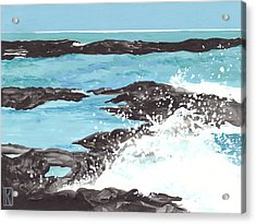 Breaking Wave On Lava Rock Acrylic Print