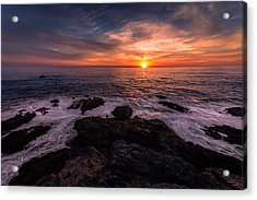 Breaking Waves At Sunset Acrylic Print