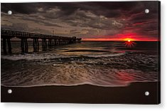 Breaking Waves At The Pier Acrylic Print