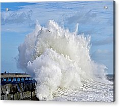 Breakwater Explosion Acrylic Print by Michael Cinnamond
