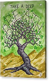 Acrylic Print featuring the drawing Breathe Love Tree by Aaron Bombalicki