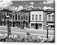Acrylic Print featuring the photograph Breckenridge Colorado Mountains Black And White - Ski Town by Gregory Ballos