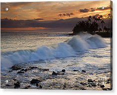 Brennecke Waves Sunset Acrylic Print by Mike  Dawson