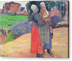Breton Peasants Acrylic Print by Paul Gauguin