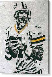 Brett Favre Green Bay Packers Pixel Art Acrylic Print by Joe Hamilton