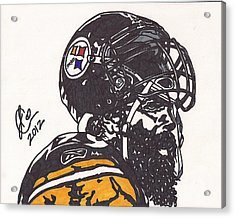 Acrylic Print featuring the drawing Brett Keisel by Jeremiah Colley