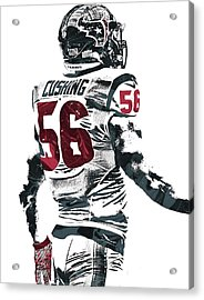 Brian Cushing Houston Texans Pixel Art 2 Acrylic Print by Joe Hamilton