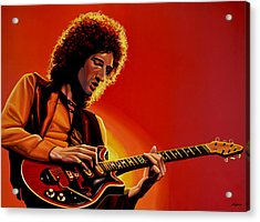 Brian May Of Queen Painting Acrylic Print by Paul Meijering