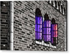 Acrylic Print featuring the photograph Brick And Glass - Vent Windows Of Comfort Station   -   1927comfortstationbwc121773 by Frank J Benz