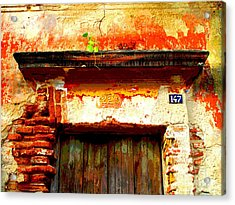 Brick And Wood By Darian Day Acrylic Print by Mexicolors Art Photography