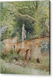 Brick Bridge With A Stone Figure Acrylic Print by Marie Egner