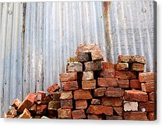 Acrylic Print featuring the photograph Brick Piled by Stephen Mitchell