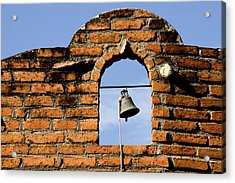 Brick Wall And Bell Acrylic Print by Xavier Cardell