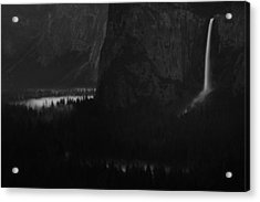 Bridalveil Falls Over Yosemite Valley Acrylic Print by Jetson Nguyen