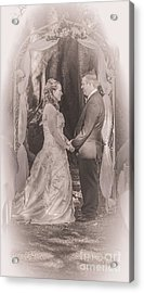 Bride And Groom Exchanging Vows On At Alter Acrylic Print
