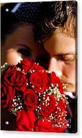 Bride And Groom Sharing Special Touching Moment Acrylic Print