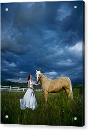 Bride And Horse With Storm Acrylic Print by Nick Sokoloff