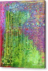 Abstract Green And Pink Acrylic Print