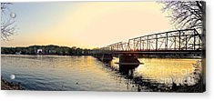 Bridge And New Hope At Sunset Acrylic Print