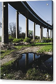 Bridge And Puddle Acrylic Print by Dylan Murphy