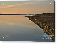 Bridge And Ria At Sunset In Quinta Do Lago Acrylic Print