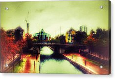 Acrylic Print featuring the photograph Bridge At Salford Quays by Isabella F Abbie Shores FRSA