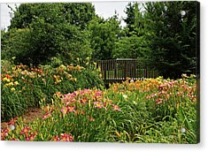 Acrylic Print featuring the photograph Bridge In Daylily Garden by Sandy Keeton