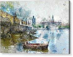 Bridge In Prague, Czech Republic Acrylic Print by Brandon Bourdages