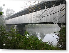 Acrylic Print featuring the photograph Bridge In The Fog by David Bishop