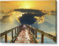 Bridge Into Sunset Acrylic Print by Inspirational Photo Creations Audrey Woods