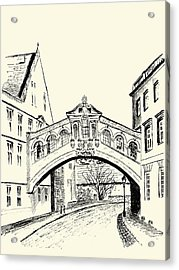 Acrylic Print featuring the drawing Bridge Of Sighs by Elizabeth Lock