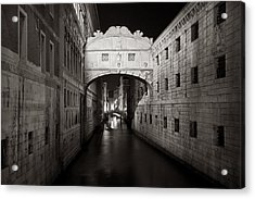 Bridge Of Sighs In The Night Acrylic Print by Marco Missiaja
